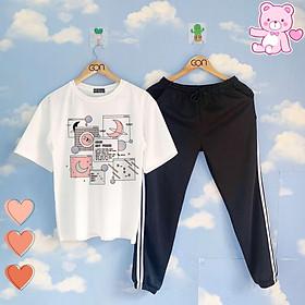 Set áo tay lửng quần thun 2 sọc ĐEN unisex, quần dài 2 sọc, 3 sọc, Áo tay lỡ và quần thể thao BLACK