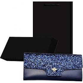 Bộ quà tặng ví / bóp nữ cao cấp có hộp túi kèm theo - xanh kim tuyến