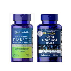 Combo thực phẩm  bảo vệ sức khỏe tiểu đường Diabetic Support Formula (60 viên) và Alpha Lipoic Acid 300mg (60 viên)