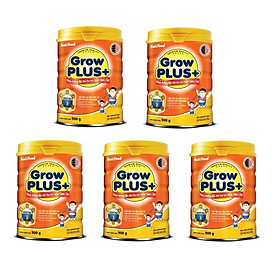Bộ 5 Lon Sữa bột NutiFood Grow Plus+ cho trẻ chậm tăng cân 900g