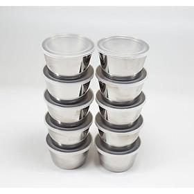 Combo 10 Khuôn Làm Bánh Flan Rau Câu Cupcake Inox 304 ( 7cm )  Nắp Nhựa Khít ( Tặng 20 Khuôn Rau Câu Không Nắp )