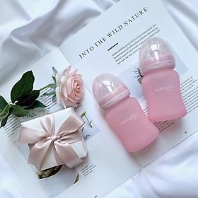 Bình sữa thủy tinh hồng nhạt 150ml Everyday baby