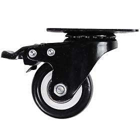 Bánh xe đẩy mặt đế xoay càng sắt tải trọng 30kg lốp nhựa PU đen rộng 20mm Φ40mm có khóa