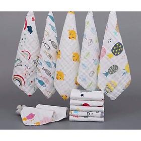 Set 5 cái khăn xô sữa 6 lớp cho bé sơ sinh - Thích hợp để lau người, tắm, lau mồ hôi và làm khăn quảng cổ cho bé