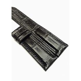 Dây da đồng hồ cá sấu Handmade màu đen