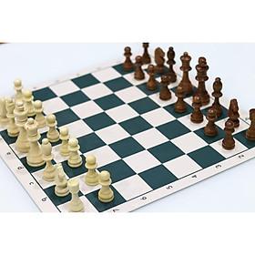 Bộ cờ vua Gỗ cao cấp kích thước tiêu chuẩn (kích thước thi đấu 34x90) - bàn vải da PU