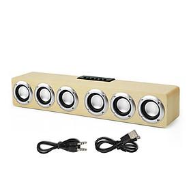 M1 Wooden Desk Speaker Bluetooth HiFi Music Player Wooden Sound Bar 20W Powerful Stereo Home Wireless Soundbar Speaker