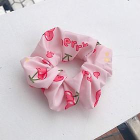 Cột tóc scrunchies trái cây và hoa, dây buộc tóc vải cherry