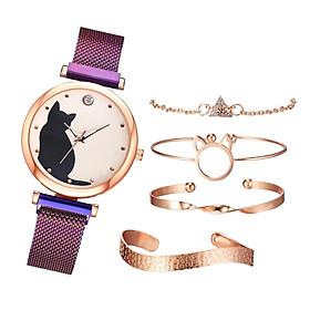 5x Women's Watches Chain Bracelet Bangle Female Wrist Band Jewelry Black