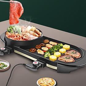 Bếp lẩu nướng điện không khói đa năng có thiết kế mặt đá chống dính