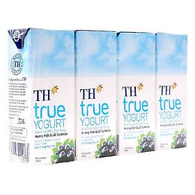 Lốc 4 Hộp Sữa Chua Uống Tiệt Trùng Hương Việt Quất Tự Nhiên TH True Yogurt (180ml)