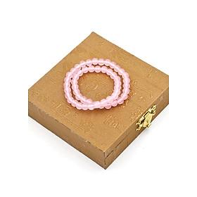 Vòng chuỗi quấn đôi đá ngọc tủy hồng DD20 kèm hộp gỗ