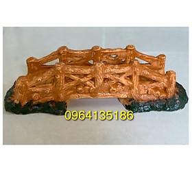 Tiểu cảnh cầu gỗ d40cm gốm sứ Bát Tràng