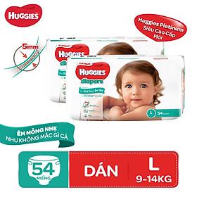 Biểu đồ lịch sử biến động giá bán Combo 2 tã dán Huggies Diapers Platinum L54