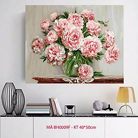 Tranh sơn dầu số hoá tự tô màu hoa mẫu đơn - BH0009F Dịu dàng sắc hoa
