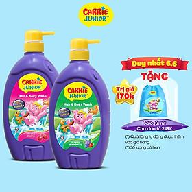 Combo 2 Sữa Tắm Gội cho bé Carrie Junior (700g/chai): 1 Hương Grapeberry + 1 Hương Cherry