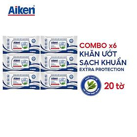 Aiken Combo 6 Gói Khăn Ướt Sạch Khuẩn Chiết Xuất Trà Xanh 20 tờ/gói