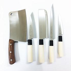 Combo 5 Dao Bếp Nhật Bản Dao Chặt Lớn, Thái, Làm Cá, Cắt Gọt Thực Phẩm Lưỡi Thép Không Gỉ Sắc Bén Dao-SK1345