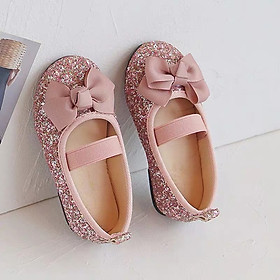 Giày búp bê cho bé gái 1 - 5 tuổi nhũ hồng lấp lánh da mềm lên chân cực sang GE72