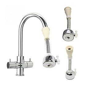Đầu gắn vòi rửa chén tăng áp 2 chế độ cần lò xo xoay 360 độ