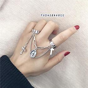 Bộ nhẫn nam nữ nối xích thánh giá gắn mặt hình quà tặng cá tính phong cách thời trang