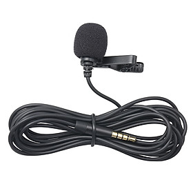 3.5mm Recording Microphone Lapel Clip-on Mic for IOS Android/Windows Cellphones Clip Podcast Noiseless Microphone for