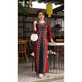 Váy Trung Niên - Đầm Quý Bà thiết kế chất thun kim sa ánh nhũ - thu đông dày dặn cao cấp/Váy cho mẹ - người già (Mã 539)