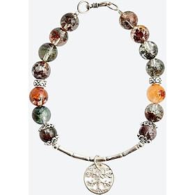 Vòng tay thạch anh ưu linh đa sắc charm cây bạc Ngọc Quý Gemstones