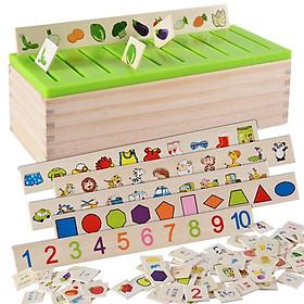 Đồ chơi gỗ thả hình theo chủ đề cho bé luyện tập trí nhớ và nhận biết chữ và số
