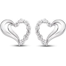 Bông tai bạc đính đá PNJSilver hình trái tim XMXMK000067-BO