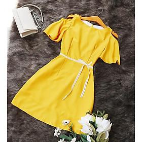 Đầm công sở vàng Siêu Rẻ Bao Đẹp may 2 lớp