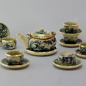 Bộ ấm chén Nhật men rạn bọc đồng gốm sứ Bát Tràng (bộ bình uống trà, bình trà)
