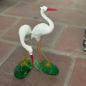 Cò đôi mỏ đỏ tiểu cảnh trang trí sân vườn gốm sứ Bát Tràng