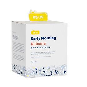 Cà Phê Phin Giấy Túi Lọc Cao Cấp Early Morning - Robusta Dripbag (Hộp 8 Gói x 15G)