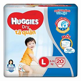 Tã Quần Huggies Dry Gói Trung L20 (20 Miếng) - Bao bì mới