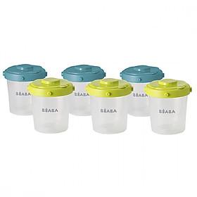 Bộ 6 hộp chia thức ăn size 200ml Béaba 3 nắp màu xanh dương 3 nắp màu xanh lá