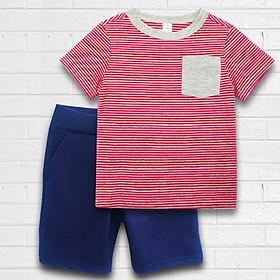 Quần áo bé trai sọc Xám đỏ thương hiệu TAMOD cao cấp.