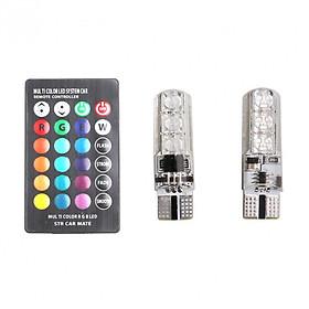 Đèn LED điều khiển từ xa gắn xi nhan xe máy, Oto - LED chân T10 bảy màu