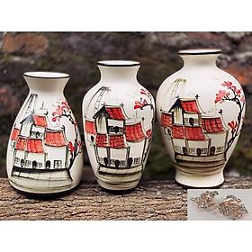 Set 3 Bình Lọ Hoa Mini Họa Tiết Vẽ Tay Tặng Kèm Cặp Tóc Đính Đá - Gốm Sứ Bát Tràng- Trang Trí, Decor Nhà Cửa (Giao mẫu ngẫu nhiên)