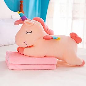 Bộ chăn gối văn phòng - gồm gối, mền hoặc gấu bông hình thú nằm hình ngựa pony (kỳ lân unicorn) tùy chọn màu