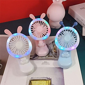 Quạt Mini Pocket Fan Hình Thỏ Tích Hợp Kẹp Điện Thoại, Sạc USB Tiện Dụng - Giao Màu Ngẫu Nhiên