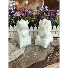 Cặp Kỳ Lân phong thủy đá cẩm thạch trắng - Cao 15 cm
