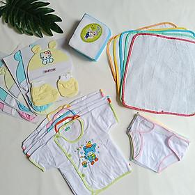 Set 45 món đồ cho bé sơ sinh_giao đúng hình( 3 áo dài tay + 3 ngắn tay + 3 nón + 3 căp bao tay + 3 cặp bao chân + 10 khăn + 10 tã đóng bỉm + 10 tã lót)