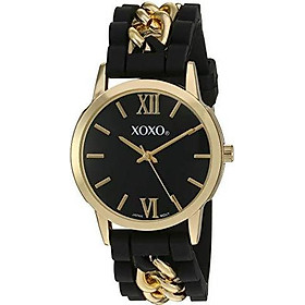 XOXO Women's Quartz Metal and Rubber Watch, Color:Black (Model: XO8101)