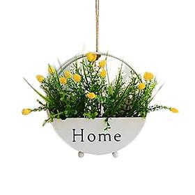 Giỏ hoa giả trang trí bàn, kệ tủ, treo tường hình tròn phong cách độc đáo kèm quai treo, chất liệu thép sơn tĩnh điện nhiều mẫu