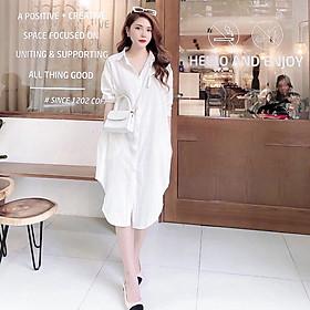 Đầm sơ mi đũi dáng suông trẻ trung LAHstore, thời trang trẻ, phong cách Hàn Quốc