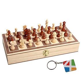 Bộ cờ vua cao cấp, đồ chơi làm bằng gỗ tự nhiên không độc hại dành cho trẻ em, môn thể thao phát triển trí tuệ - Tặng Kèm Móc Khóa 4Tech.