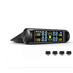 Cảm biến áp suất lốp xe ô tô TPMS thông minh màn hình LCD màu, chạy bằng năng lượng mặt trời lắp van ngoài T3