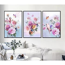 Tranh bộ treo tường tráng gương Công nghệ mới bộ 3 hoa mẫu đơn tuyệt đẹp Tipo_0272