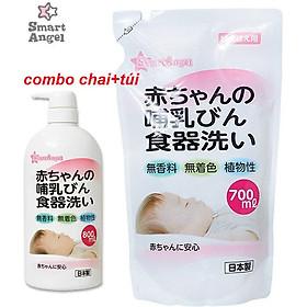 Combo Nước rửa bình sữa, núm ti, chén bát, hoa quả, đồ chơi,... cho bé Smart Angel Nhật Bản chai 800ml và túi 700 ml